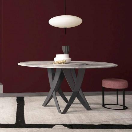 Mesa redonda em mármore cinza imperial Diâmetro 140 cm, fabricada em Itália - Montereale