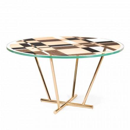 Mesa de centro redonda Ozzy com tampo de vidro e intarsia, design italiano