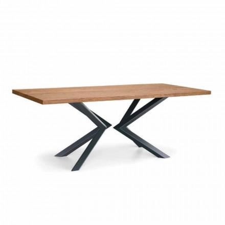 Mesa de jantar moderna em carvalho atado e metal made in Italy - Veruka