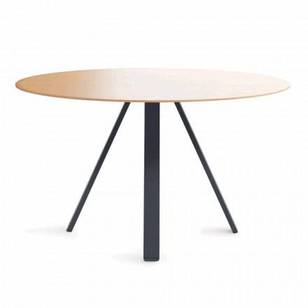 Mesa de jantar redonda em metal e MDF fabricada na Itália - Cornelius