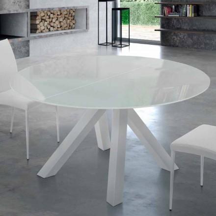 Mesa Redonda Extensível em Aço e Vidro Temperado Made in Italy - Settimmio