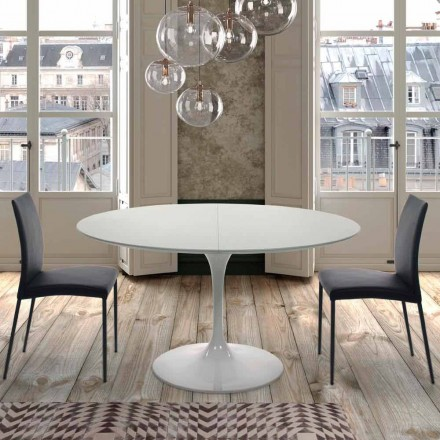Mesa redonda extensível até 170 cm em laminado fabricado na Itália - dólares