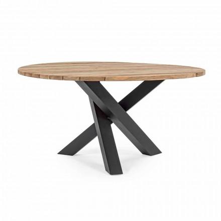 Mesa moderna redonda ao ar livre com Homemotion - Ruben Teak Wood Top