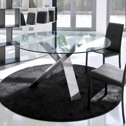 Mesa de design redonda d.120 top de cristal feito na Itália Cristal
