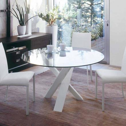 Mesa de design redonda d.130 top de cristal feito na Itália Cristal