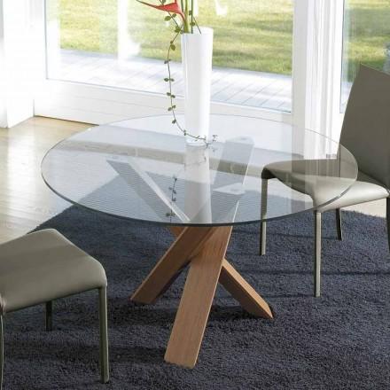 Mesa de design redondo d.150 cristal top made in Italy Cristal