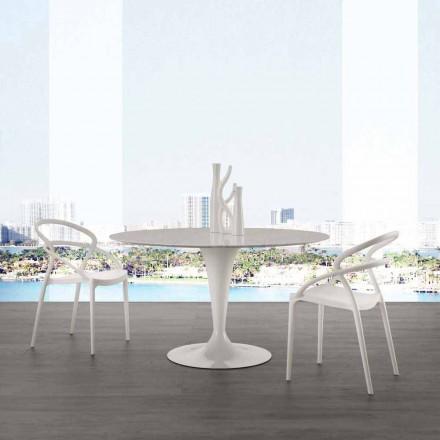Mesa redonda com tampo em mármore de Carrara branco com 120 cm de diâmetro Rimini