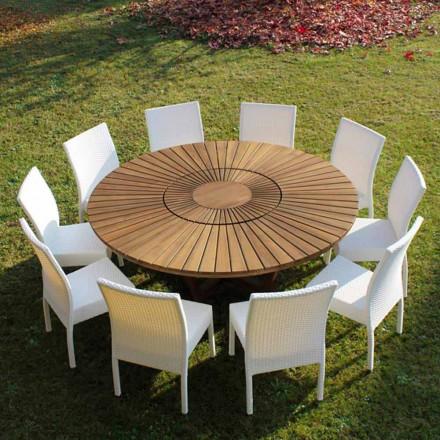 Mesa de jantar redonda de teca para interior / exterior Mesa Real, design moderno