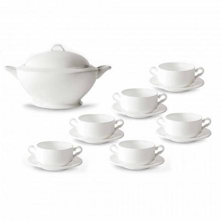 Xícaras de Sopa, Terrina e Pires em Porcelana Branca 13 Peças - Samantha