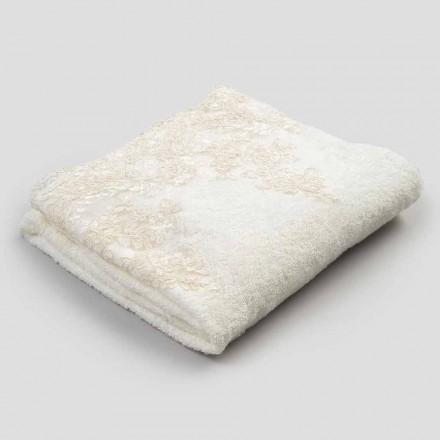 Toalha de banho de algodão turco com borda em mistura de linho e renda - Ginova