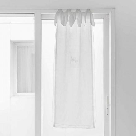 Cortina com Gaze de Linho e Organza Branca de Design Elegante - Tapioca