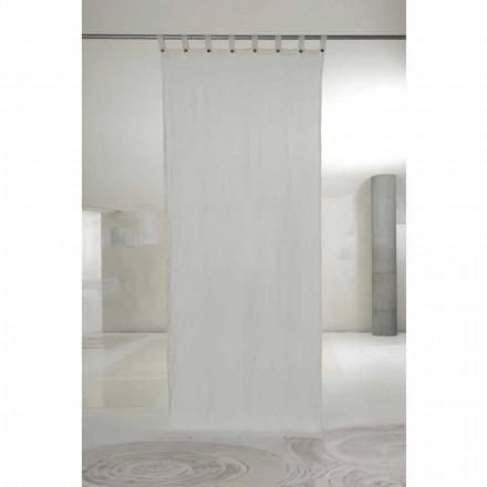 Cortina de linho claro branco com botões de design luxuoso - Geogeo