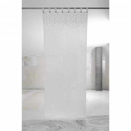 Cortina de linho claro branco com renda de design elegante feito na Itália - Geogeo