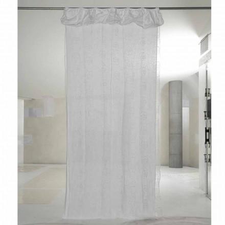 Cortina de linho branco e organza com bordado elegante de rosas - Mariarosa