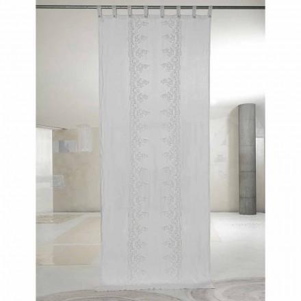 Cortina de linho branca e clara com renda central, design elegante - Geogeo