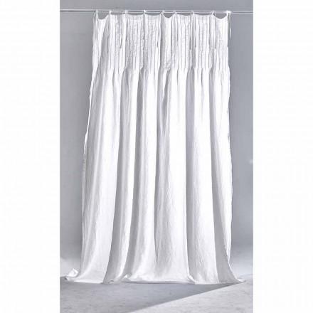 Cortina de linho claro branco com nervuras, design italiano de qualidade - Tafta