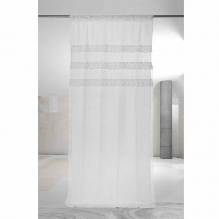 Cortina de Linho Branco com Organza e Bordados, Design Made in Italy - Marpessa