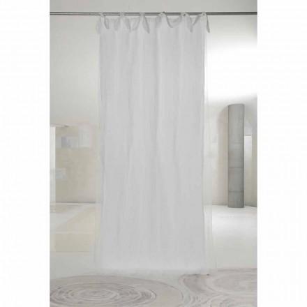 Cortina de linho branco e organza com abas, design de luxo feito na Itália - Ariosto