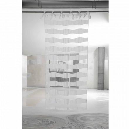 Cortina de Linho Branco e Organza com Bordado de Design Elegante - Oceanomare