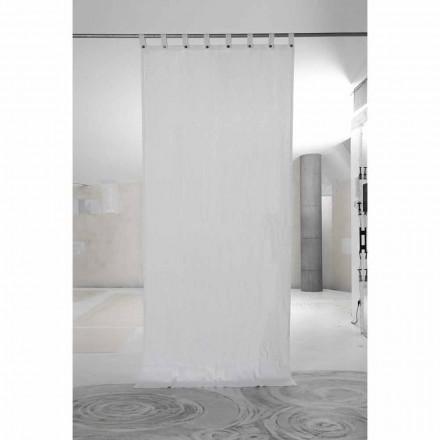 Cortina branca de linho pesado com botões de luxo italianos de qualidade - Gorgia