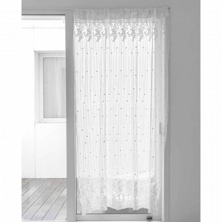 Cortina de Tule Branco com Bordado de Bolinhas e Flores, Design - Eucariota