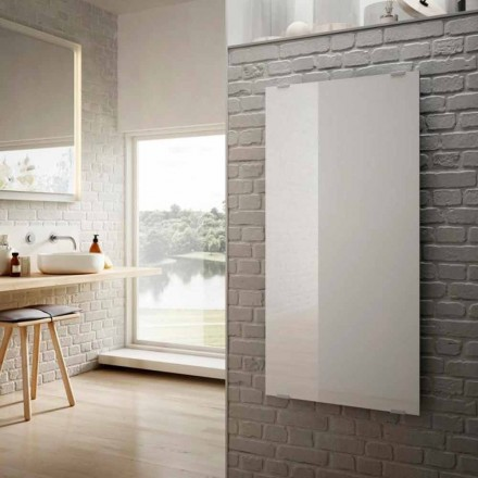 Design moderno radiador elétrico Star, vidro branco, feito na Itália
