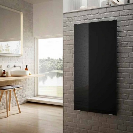 Design moderno radiador elétrico Star, vidro preto, fabricado na Itália