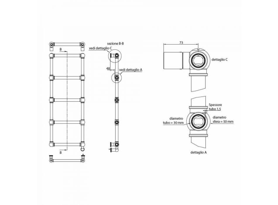 Aquecedor elétrico de toalhas do radiador cromado em latão Design 200 W - Caesar