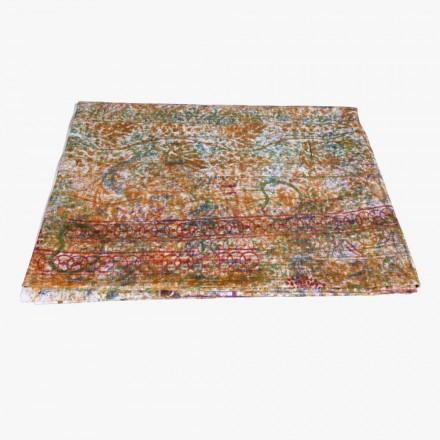 Toalha de mesa de arte italiana com peça única impressa em algodão à mão