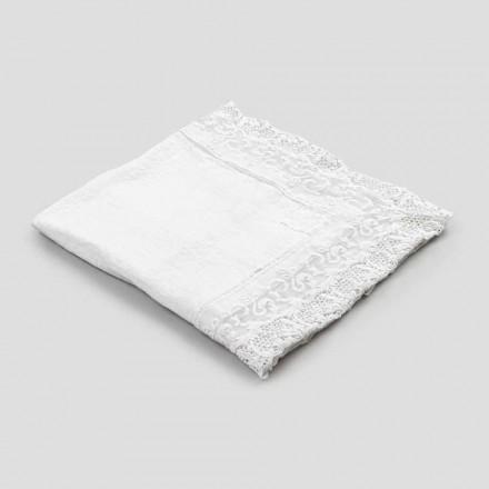 Toalha de mesa quadrada de linho com design luxuoso de renda branca feita na Itália - Olivia