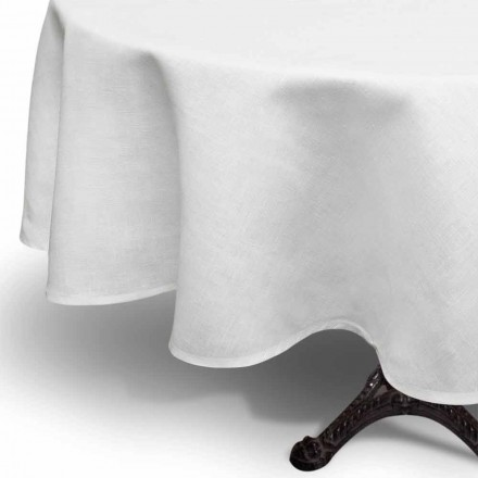 Toalha de mesa redonda creme de linho branco artesanal na Itália - Blessy