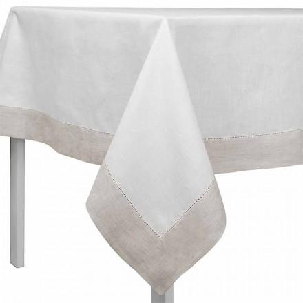 Toalha de mesa de linho retangular ou quadrada, branca e natural, fabricada em Itália - Chiana