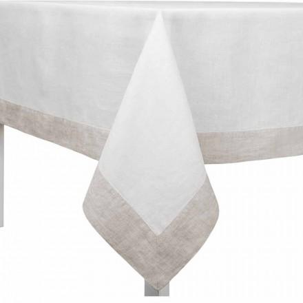 Toalha de mesa de linho branco e natural, retangular ou quadrada fabricada em Itália - papoula