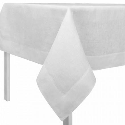 Toalha de mesa retangular ou quadrada de linho branco creme feita na Itália - papoula