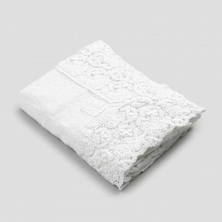Toalha de mesa retangular em linho e algodão rendado de design luxuoso - Olímpia