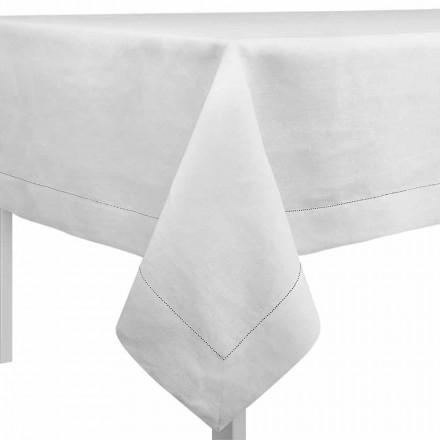 Toalha de mesa retangular ou quadrada em linho branco creme Made in Italy - Chiana