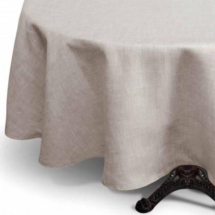 Toalha de mesa de linho puro redonda de cor natural fabricada em Itália - Blessy