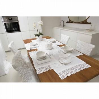 Placemat em puro linho branco com moldura ou renda made in Italy - Davincino