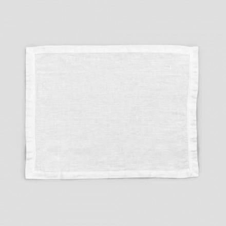 2 jogos americanos de linho branco puro com borda ou renda, design feito na Itália - Davincino