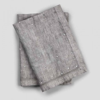 American Breakfast Placemats em Grey Linen with Crystals 2 Pieces - Macanno