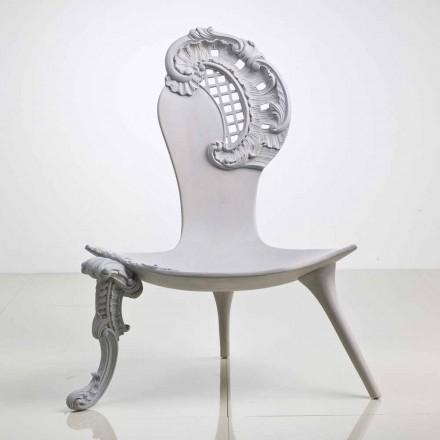Mão cinzenta esculpida trono Leon em carvalho maciço, design italiano de luxo