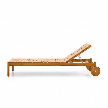 Espreguiçadeira de jardim com rodas de madeira de teca Barcode by Varaschin