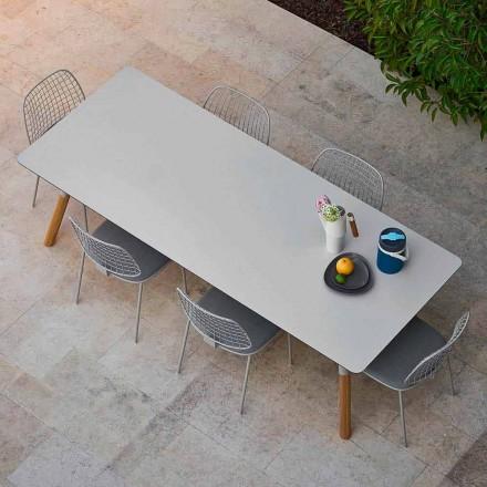 Mesa de jantar extensível para exterior com pés de teca, H 75 cm Link Varaschin