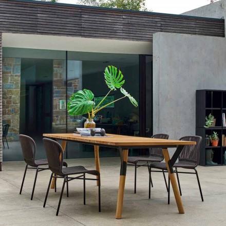 Mesa de jantar ao ar livre com pés de madeira de teca, H 65 cm Link by Varaschin