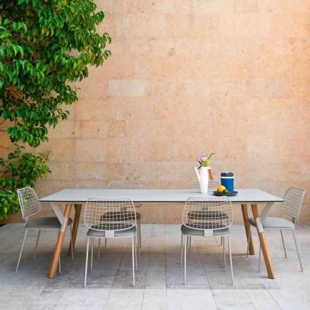 Mesa de jantar de jardim com pés em madeira de teca, H 75 cm Link by Varaschin