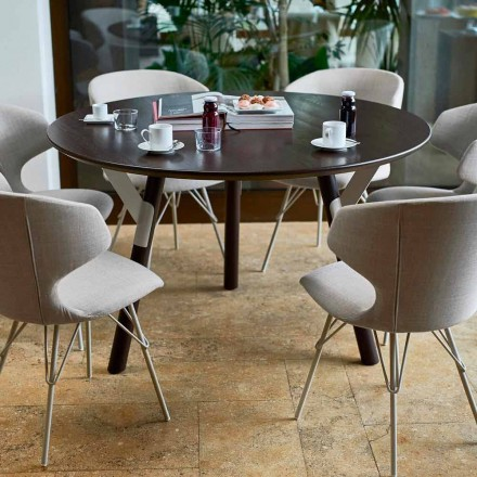Mesa de jantar redonda para jardim H 65 cm, design moderno, Link by Varaschin