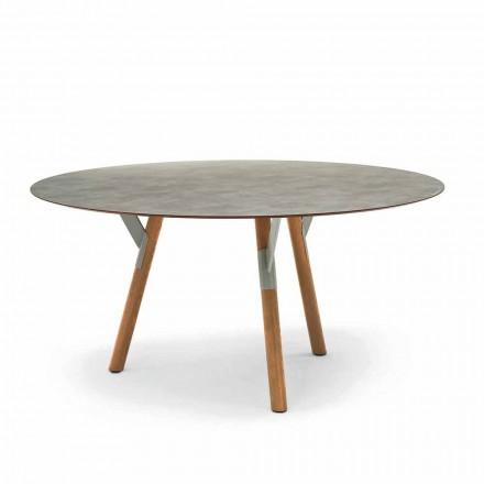Mesa redonda de exterior / interior H 75 cm, pernas de madeira de teca, Link by Varaschin