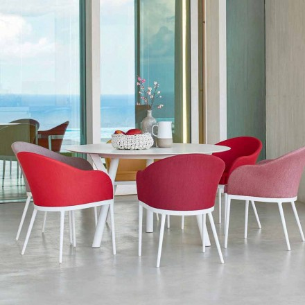Mesa de jantar redonda redonda H 75 cm, design moderno Link by Varaschin