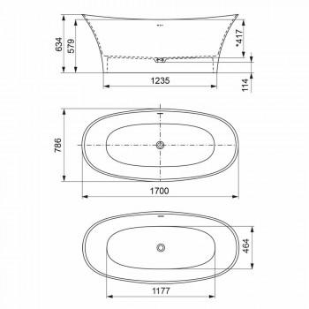 Banheira de dois tons de pé livre, Design de superfície sólida - Look