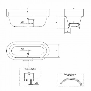 Banheira autônoma de design vintage em ferro fundido, fabricada na Itália - Naima